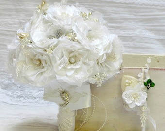 White bridal bouquet, silk bridal bouquet, broach wedding bouquet, silk wedding bouquet, wedding bouquet set, brooch bridal bouquet, bouquet