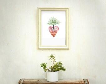 Tree of life art wall art, Heart painting, Watercolour tree painting, Heart tree, Heart print, 8 10 print, Love print, tree print