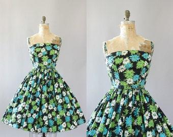 Vintage 50s Dress/ 1950s Cotton Dress/ Turquoise & Lime Green Floral Print Cotton Dress w/ Belt S/M