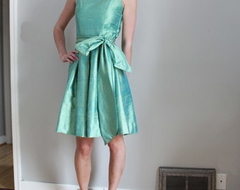 50s iridescent shantung silk jade green party dress with long oversized sash, size S