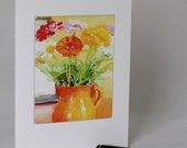 Orange Pitcher with Assorted Flowers