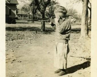 "Vintage Photo ""Shooting Cans"" Children Boy Toy Gun Snapshot Photo Old Antique Black & White Photograph Found Paper Ephemera Vernacular - 140"