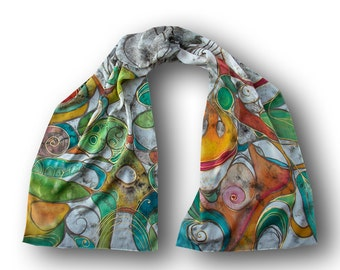 Art scarf, absract pattern, hand-painted multicolor batik, one of a kind, pure silk, long scarf, universe, cosmos, space, helices, scrolls