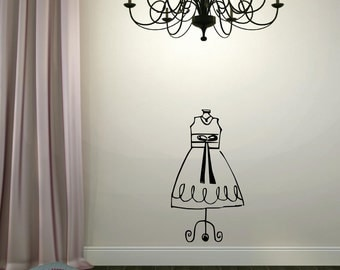Dress Form Wall Decal - Girly Vinyl Decal Girls Room Decor Housewares Dressing Room Decal Girl Bedroom Decor
