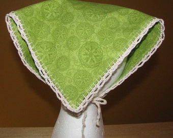 Head Kerchief with Hand Crocheted Lace Edge and Ties for Teen or Adult/Green Medallion Fabric