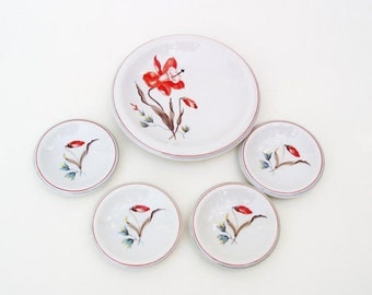 Vintage German Dinnerware, Serving Dishes, Bread and Butter Plates, Dessert Plates - Orange Flowers