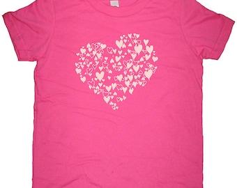 Heart TShirt Kids - Valentines Day Girls Shirt - Heart of Love - Present / Gift - Tee T Shirt Top - Kids Tshirt 2T, 4T, 6, 8, 10, 12