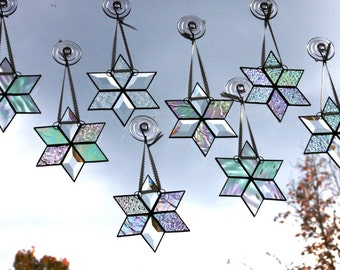Stained Glass Ten Snowflakes Star Clear Iridescent Christmas Ornaments Suncatchers