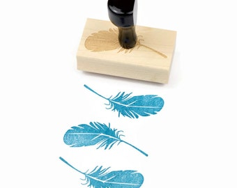 Rubber Stamp Feather - Natural Wedding DIY - Wood Mounted Stamp - Ready to Ship