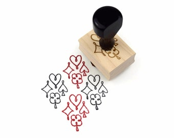 Rubber Stamp Playing Card Suits - Symbols Hearts Spades Diamonds Clubs Pattern Stamp - Wood Mounted Stamp - Ready to Ship / In Stock