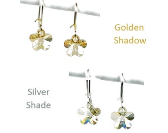 Swarovski Crystal Daisy Flower Earrings in Golden Shadow or Silver Shade Simple Gold and Silver Jewelry for Flower Girls or Bridesmaid Gifts