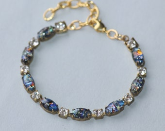 Nebula,Vintage Black Fire Opal Bracelet,Vintage Opal Marquise & Rhinestone Tennis Bracelet,Black Opal,Harlequin Opal,Birthstone,Rainbow
