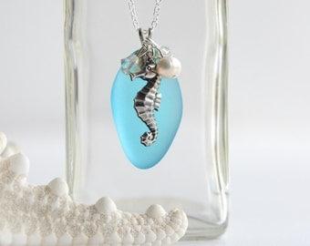 Blue Sea Glass Necklace Sea Glass Pendant Sea Glass Jewelry Beach Glass Necklace Beach Glass Pendant Sterling Silver Necklace