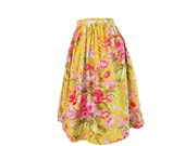 Floral Golden Yellow Full Gathered Midi Skirt Size Large 8-10  Ready to Ship Vintage style