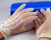 Crocheted Ivory lace gloves with Swarovski crystals - The Lady Mary