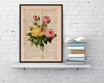 Summer Sale Vintage Book Print Dictionary or Encyclopedia Book print Antique Roses Bouquet colour Print on Vintage Book art BFL044
