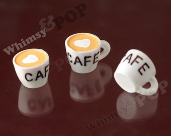 3 - 3D White Coffee CAFE Mug Kawaii Foodie Charm Pendant Cabochon, Coffee Cup Charm,  25mm x 20mm x 17mm (C1-33)