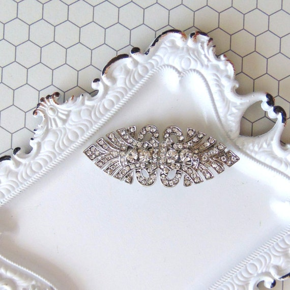 Art Deco Clear Pave Rhinestone Silver Bridal Hair Clip, Great Gatsby, Art Deco, Downton Abbey, Silver Hair Clip, Small Rhinestone Clip ABBEY