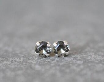 Gray Stud Earrings Vintage Swarovski Crystal Grey Fancy Cut Square Studs 6mm Studs Petite Small Stud Teenies RARE Petite Earrings Mashugana