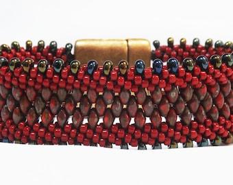 Handmade Kumihimo Cuff Bracelet, Dark Red and Green, handmade bracelet