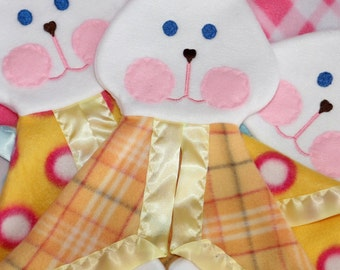 Fisher Price replica bunny puppet lovey blanket yellow and orange plaid