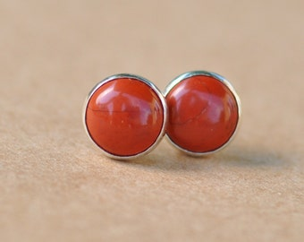 Jasper earrings handmade with Sterling Silver studs in Orange Red, 8 mm natural cabochon gemstones in silver settings, gift, birthday