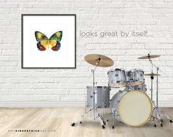 16x20, 67 Bagoe Watercolor Butterfly, Series Print, Larger Print, Yellow Butterfly Wall Art, Wall Decor, AK0377