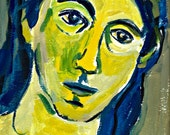 """Original Painting, Pensive Woman, Portrait in Yellow, acrylic, signed art, 12"""" x 9"""""""