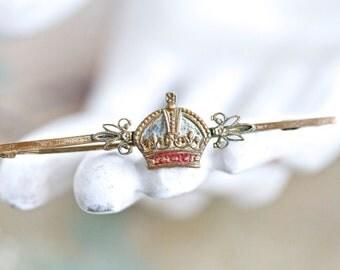 Crown Tie Pin - Antique Bar Brooch
