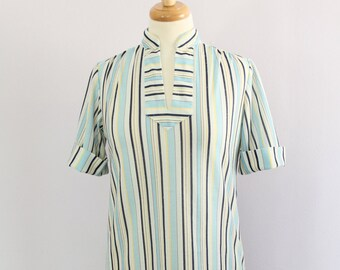 Vintage 1970's Blue Stripe Mandarin Collar Yoked Shirt Blouse M