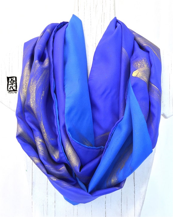 Infinity Scarf Silk Handpainted, Gift for her, Christmas Gift, Gift Wrapped, Silk Scarves Takuyo, Reversible Blue Galaxy Scarf, 14x72 inches