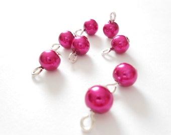 Magenta Glass Pearl Dangle Beads