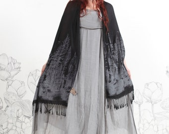 Redwood Forest Scarf | Black Forest Shawl | TREE Scarf | Womens accessories | Wearable Art by CArousel Ink