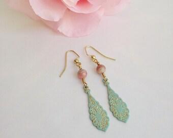 Gemstone earrings, bohemian earrings, patina earrings, boho brass earrings, pink rhodochrosite, boho chic earrings, shabby chic earrings
