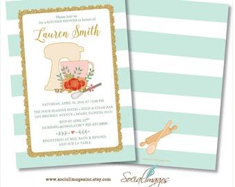 KITCHEN  SHOWER INVITATION Kitchen Bridal Shower Invitation Printed or Digital / Printable File