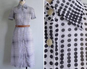 Vintage 80's Gradient Spot Optical Illusion Shirt Dress XXS or XS
