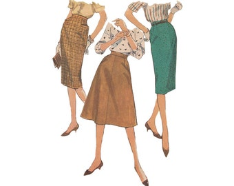 Set of Skirts Pattern Simplicity 3196 Vintage 1950s Wiggle/Pencil/ Flared Skirt with Yoke Pockets and Waistline Darts Waist 26 Hip 36