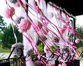 "1 small  size 22cm / 8"" tissue paper  pom pom -custom color / hanging party / decorations / birthday decorations"