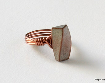 Copper Button Ring, Twisted Bar Ring, Metal Button Ring, Button Jewelry, Wire Wrapped Ring, Minimalist Ring, White Copper Ring, Wire Ring