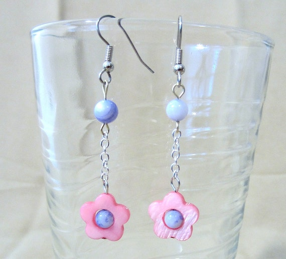 Carved Pink Mother of Pearl Flowers & Sodalite Beads on Silver Chain Dangle Earrings, Handmade Original
