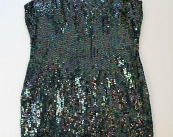 Metallic Blue Green Sequin Dress-Vintage strapless fully Embellished shift dress- silk -Glam- two tone -Medium Large 38