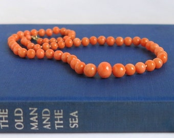 Antique Coral Necklace Italian Coral Graduated Bead Necklace, Victorian Pink Salmon Coral Beaded Necklace 12K Gold Filled Clasp