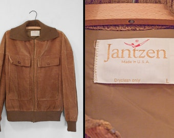 JANTZEN Corduroy Coat 1970s Sweater Cuffs Collar Golden Brown 44 Chest Medium