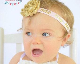 Gold 1st Birthday Headband, PINK 1st Birthday Headband, Girl First Birthday Outfit, Pink and Gold 1st Birthday Outfit, Gold One Headband