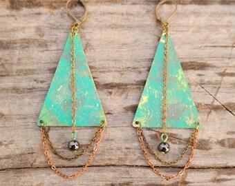 Long Boho Triangle Earrings with Hematite