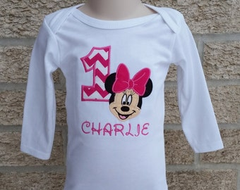 Minnie Birthday Shirt - Choose the Number - Applique Bodysuit or T Shirt - Short or Long Sleeve