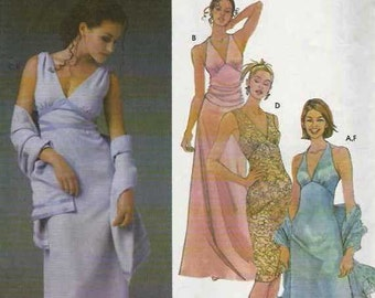 PATTERN Simplicity 5187 Halter neck dress or over shoulder fitted shaped waist floor length and shawl Size 8
