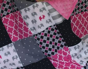 baby girl blanket, girl baby blanket, patchwork blanket, soft baby blanket, minky blanket, pink and black blanket, baby blanket