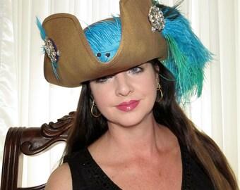 CAPTAIN ISADORA Lady Pirate Style Headdress Hair Adornment Aqua, Green