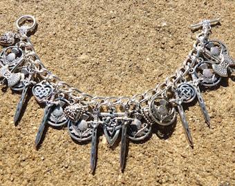 SCOTLAND THE BRAVE Delicate Silver Scottish Celtic Scotland Charm Bracelet